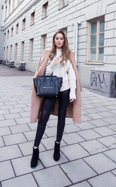 3a13d6ea519cb ... making a fabulous alternative to jeans with almost any outfit. Kenza  Zouiten wears a pair with a gorgeous cream knit sweater and a stylish beige  ...