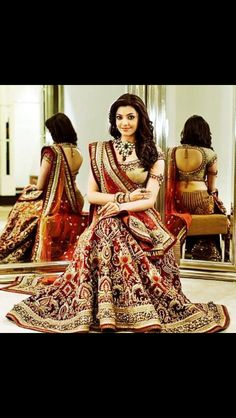 Kajal Agarwal in beautiful bridal lehenga designed by Tarun Tahiliani. Choli Dress, Bridal Lehenga Choli, Indian Lehenga, Bridal Lenghas, Walima, Lehenga Blouse, Indian Dresses, Indian Outfits, Tarun Tahiliani