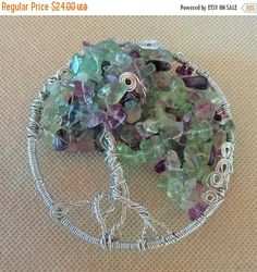 Tree of Life Wire Wrapped Sun Catcher / Gemstone Chip beads / Wire Wrap Sculpture Wall Decor / Purple Spring Flowers