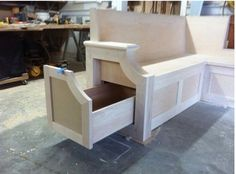 Love the bench seat side pull out drawers! Plan on doing this is my kitchen!