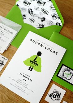 Modern Superhero Birthday Party Invitations via Oh So Beautiful Paper: http://ohsobeautifulpaper.com/2014/06/lucass-superhero-4th-birthday-party-invitations/ | Design + Photo: Good on Paper #birthday #kids #party