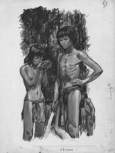 Illustration au lavis gris pour le Signe de piste La jungle est leur demeure paru en 1972.