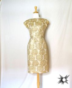 Vintage 1950's/ 60's Gold Rose Embossed Short Sleeve Wiggle Dress Size Small by SatelliteVintageCo on Etsy