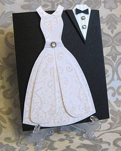 Wedding Dress Card by lpratt - Cards and Paper Crafts at Splitcoaststampers Wedding Anniversary Cards, Wedding Cards, Wedding Bells, Love Cards, Diy Cards, Dress Card, Wedding Card Templates, Unique Wedding Invitations, Vintage Invitations