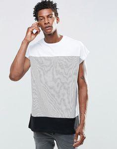 Image 1 ofASOS Oversized Sleeveless T-Shirt With Stripe Panel