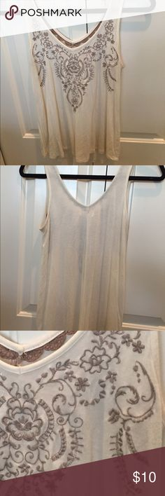 Embroidered tank top Cream, light brown embroidery, very soft and in good condition Nordstrom Tops Tank Tops