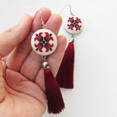 Items similar to Maroon earrings, oversized earrings, Garnet Tassel Earrings, Burgundy fringe earrings, Statement earrings Boho earrings gift from husband on Etsy – Cusături broderie – Jewelry Red Earrings, Fringe Earrings, Statement Earrings, Cross Stitch Tattoo, Tiny Cross Stitch, Jewelry Model, Boho Jewelry, Stainless Steel Earrings, Burgundy