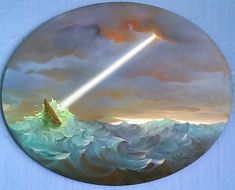 Ulysses Rough Waters 2000 32x30 by Vladimir Kush - Oil on Oval Canvas