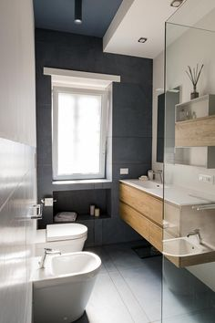Collecting ideas for decorating beach or nautical styled bathrooms! Always searching for the unique and fabulous Home Room Design, House Design, Attic House, Yellow Bathrooms, Modern Farmhouse Bathroom, New Home Designs, Bath Design, Bathroom Interior, Small Bathroom