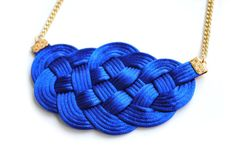 Blue Big Sailor's Knot Necklace Knotted Satin by elfinadesign, $30.00