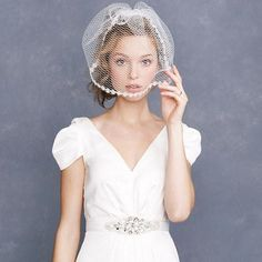 An eyelash lace veil from J. Crew is a different, modern take on the longer traditional veil. Bridal Veils And Headpieces, Lace Veils, Bridal Gowns, Bridal Updo, Short Veil, Veil Hairstyles, Modest Wedding Dresses, Facon, Wedding Bride
