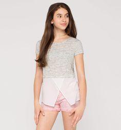 Frontimage view Shirt met korte mouwen in 2-in-1-look in licht grijs-mix