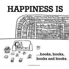Happiness is... books, books, books and books.