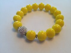 Yellow Beaded Bracelet by SharonKrug on Etsy, $17.50