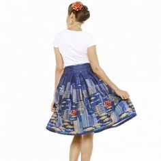'Tippi' NYC Navy Blue Swing Skirt -  from Lindy Bop UK