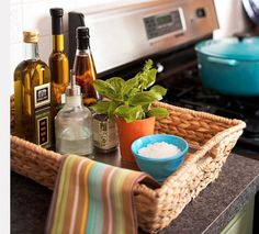 Group like things in a basket when staging kitchen.