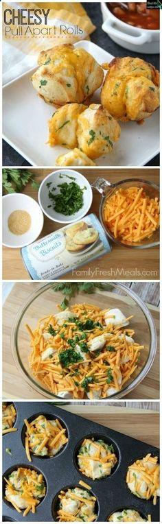Easy Cheesy Pull Apart Rolls 5 minute prep and truly amazing. - FamilyFreshMeals.com