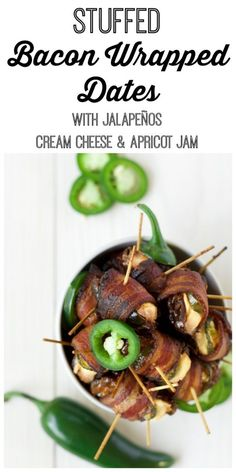 Stuffed Bacon Wrapped Dates are crazy good and so easy to make! These delicious small bites are packed with creamy goodness, spicy jalapeño slices, sweet apricot jam, stuffed into chewy caramel-like Medjool dates and wrapped in salty, crispy bacon. | Recipes to Nourish