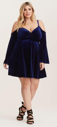 Plus Size Velvet Cold Shoulder Dress - Plus Size Party Dress - Plus Size Cocktail Dress