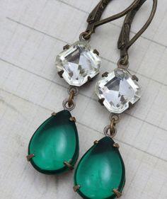 Antique Earrings Jewel  Vintage Emerald & by inspiredbyelizabeth, $22.00