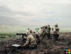 WWI, 1916. Ottoman machine gunners observe from a commanding position. Colorized.