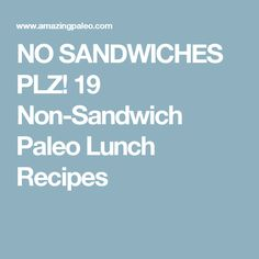 NO SANDWICHES PLZ! 19 Non-Sandwich Paleo Lunch Recipes