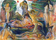 "dappledwithshadow: ""Naked Figures and Sun Edvard Munch, 1924-1925 """