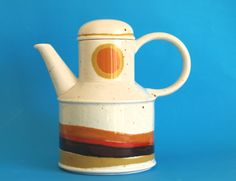 Midwinter Stonehenge Day Coffee Pot - Retro 70s Orange Wedgewood Coffee Pot by Roy Midwinter - Made in England by FunkyKoala on Etsy