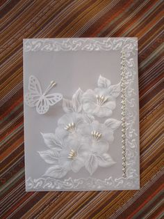 The Latest Trend in Embroidery – Embroidery on Paper - Embroidery Patterns Craft Wedding, Wedding Cards, Vellum Crafts, Parchment Cards, Paper Embroidery, Machine Embroidery, Embroidery Designs, Anna Griffin Cards, Embossed Cards