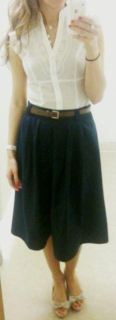 Lilly Style: Navy Midi Skirt