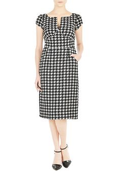 I <3 this Houndstooth check print empire sheath dress from eShakti