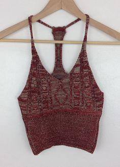 burgundy madison knit crop top