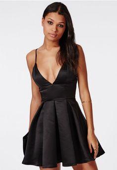 Satin Plunge Structured Skater Dress Black - Dresses - Skater Dresses - Missguided