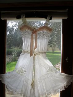 Dainty Victorian/Edwardian Chemisette:  All-in-One Sheer Lawn Cotton Chemise with Split Crotch Bloomers w/ Cluny Lace.  via Etsy.