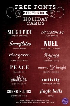 Not just for holiday cards. Free Fonts for DIY Holiday Cards Holiday Fonts, Diy Holiday Cards, Christmas Fonts, Christmas Cards, Diy Christmas, Christmas Printables, Christmas Writing, Cards Diy, Fancy Fonts