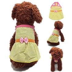 FuzzyGreen Small Cute Yellow Plaid Polka Dot Bowknot Ribbon Braces Skirt Sundress for Pet Dog Puppy * Visit the image link more details.