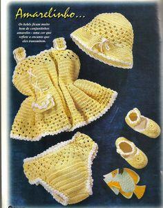Crochê Tricô do Bebê: Vestido,chapéu, calcinha e sandália em crochê com ...