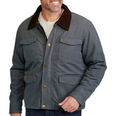 Wrangler Men's Canvas Jacket, Size: Large, Gray
