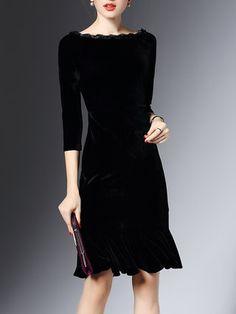 Black 3/4 Sleeve Velvet Flounce Bateau/boat Neck Midi Dress