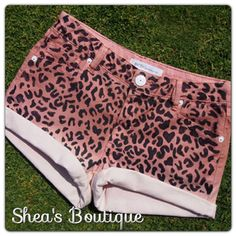 Born To Be Wild Pink Cheetah Print Jean Shorts on Etsy, $35.00