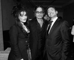 Johnny Depp and Robert Downey, Jr., with Helena Bonham Carter. The awesomeness in this photo is overwhelming!