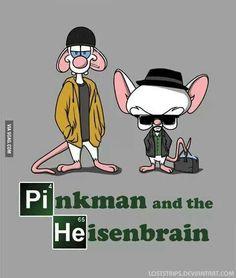 Breaking Bad meets Pinky and the Brain. Starring Pinky as Pinkman and Brain as Heisenberg Pinkman and the Heisenbrain Cartoon Art, Cartoon Characters, Breking Bad, Bad Fan Art, Breaking Bad Seasons, Old Cartoons, Film Serie, American Horror Story, Cartoon Network