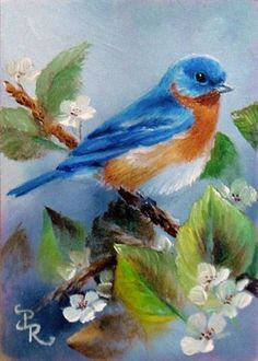 """The bird is powered by its own life and by its motivation."" ~ A. P. J. Abdul Kalam.  This Bluebird painted by Paulie Rollins"