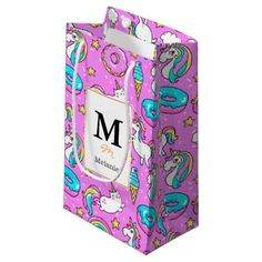 #template - #Funny Cute Pink comical unicorns and kitties Small Gift Bag