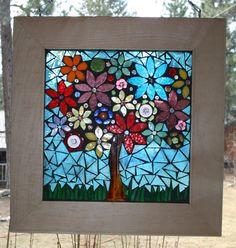 Flower Tree Glass on Glass Mosaic Window by lowlightcreations, $125.00