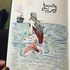 Portada de octubre. #Inspiración #BulletJournal #cover  *the_other_mrscMermaid ‍♀️ theme for my bujo this year....as I am practically a mermaid ‍♀️. #bujo #bulletjournal #mermaid #sea #ocean #water #art*