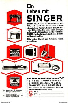 Original-Werbung/ Anzeige 1962 - SINGER / REMINGTON / KUBA NÄHMASCHINEN /STAUBSAUGER/ FERNSEHER - Ca. 120 X 170 M - Werbung