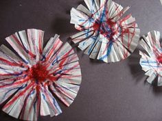 Coffee filters, pom-poms, and markers....easy 4th of July fireworks!