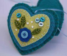 Felt ornament, Hanging heart  turquoise. $11.50, via Etsy.