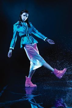 The humble rainboot gets the runway treatment for spring '15. Marc by Marc Jacobs' chunky Chelsea style goes weatherproof in patent and rubber. Hunter, known for reliable Wellies, now shows plucky rainwear such as this aqua jacket at London Fashion Week.
